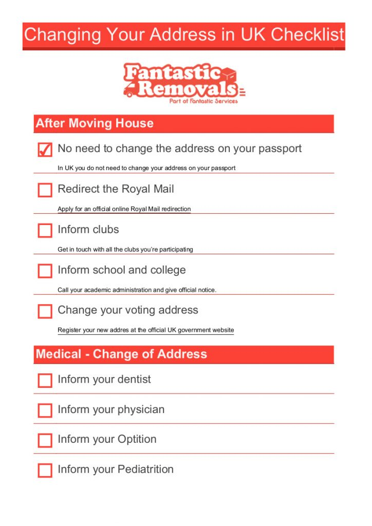 change of address checklist for moving house