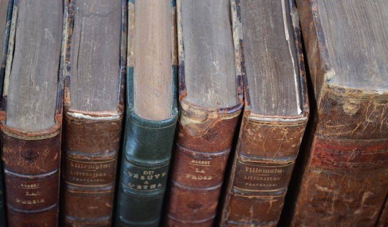 antique books prepared for packing