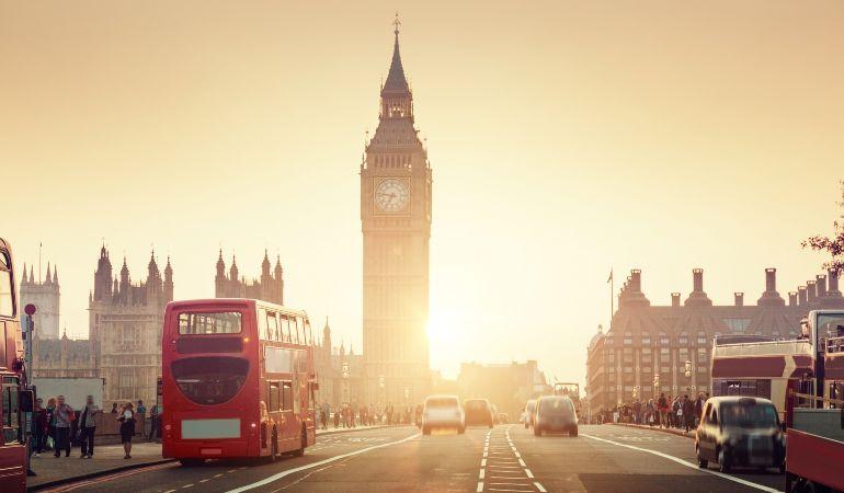 View of Big Ben and Westminster Bridge in London