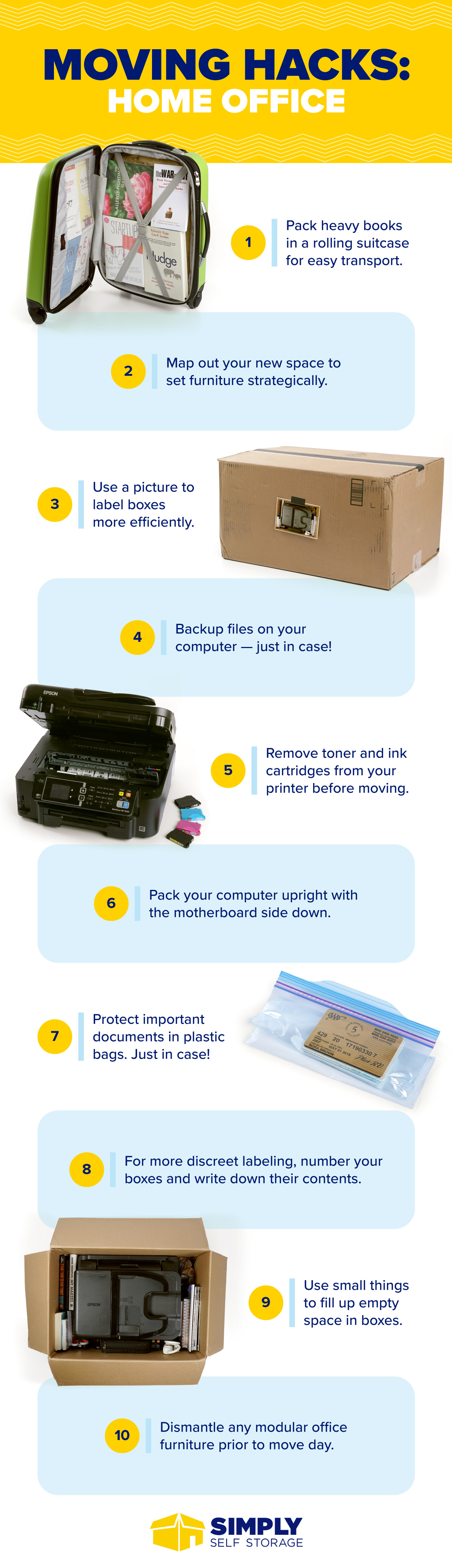 infographic moving hacks for home office