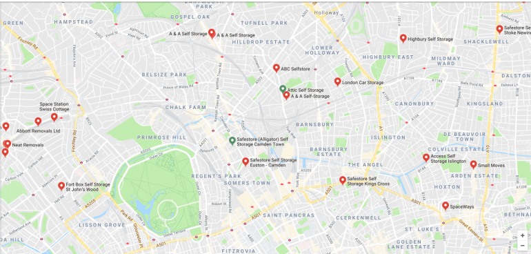 locations for storage in north london