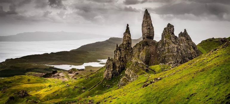 Landscape view of Old Man of Storr rock formation in Scotland, United Kingdom