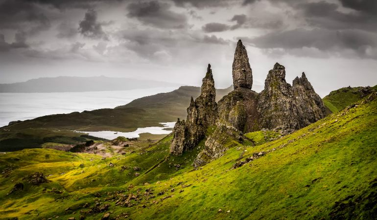 Landscape view of Old Man of Storr rock formation in Scotland, United Kingdom