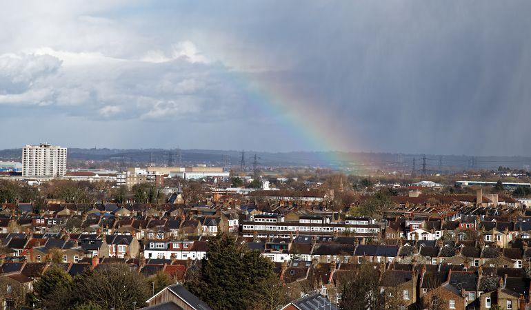 A rainbow over North London