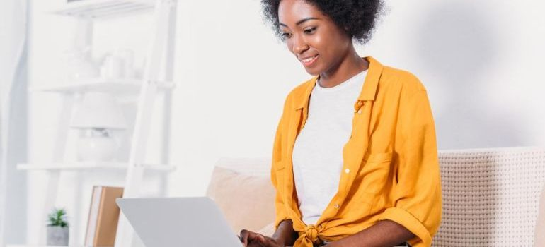 Woman working from home using her laptop