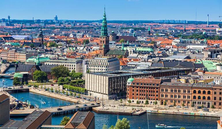 An aerial photo of Copenhagen, Denmark