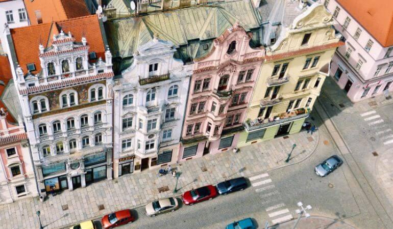 Colorful buildings in Plzeň, Czech Republic