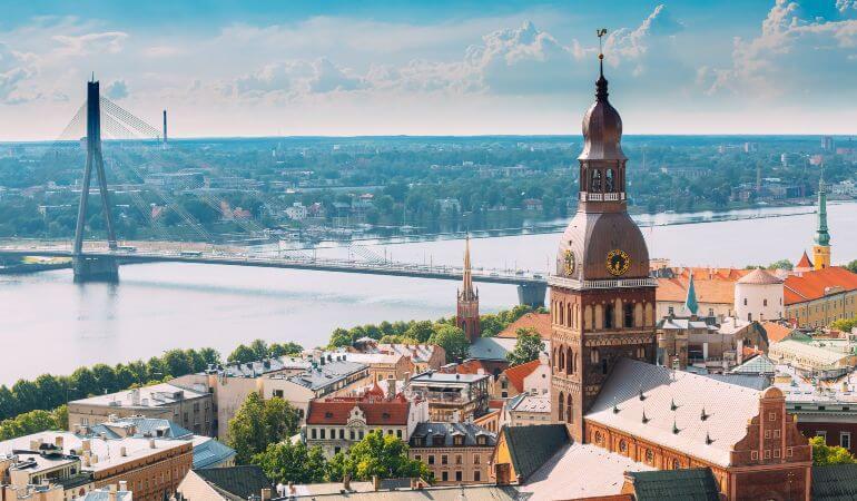 Aerial view of Vansu Bridge in Riga, Latvia