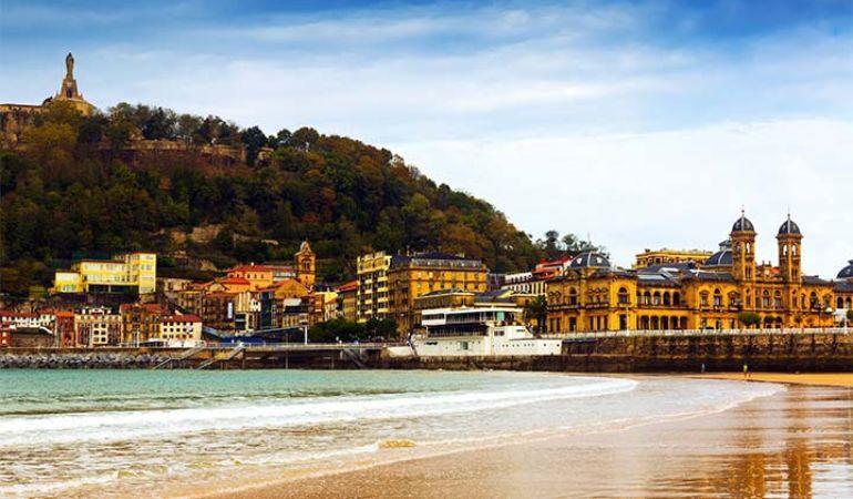 The beachline in San Sebastian, Basque Country