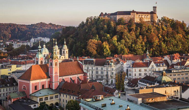 Old town and the medieval castle in Ljubljana, Slovenia