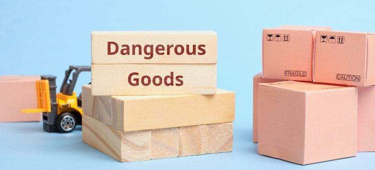 Boxes containing dangerous goods