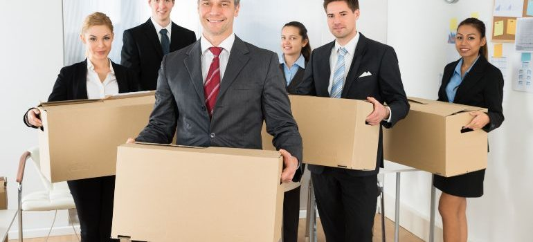 Employees preparing for an office move