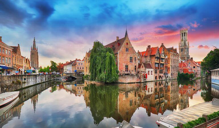 Bruges at dramatic sunset, Belgium