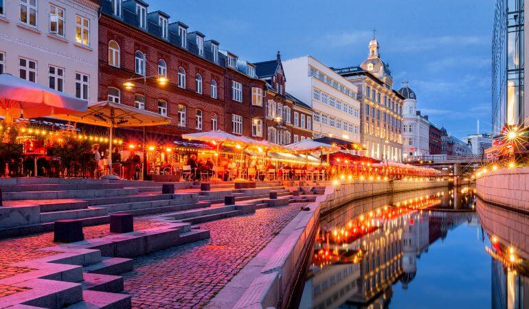 Evening lights in the Åboulevarden in Aarhus, Denmark