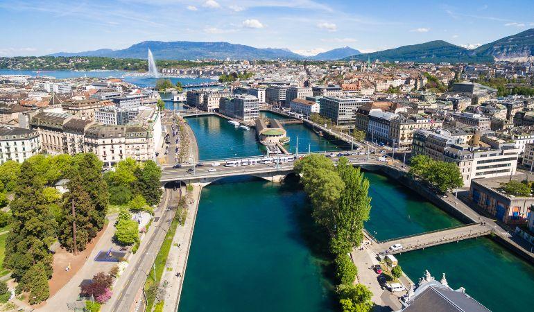 Aerial view of Leman lake in Geneva city in Switzerland