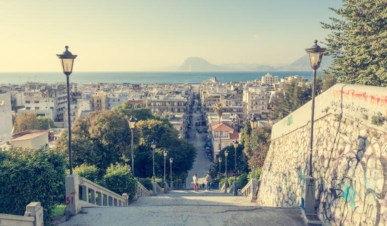 Staircase descending into Patras, Greece