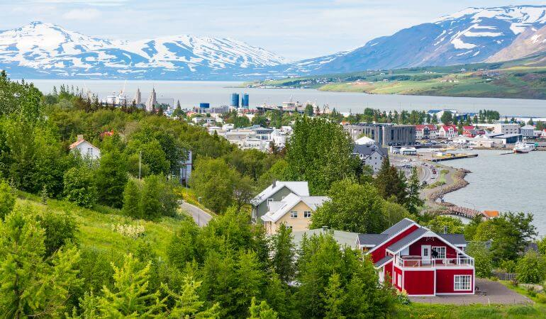 Town of Akureyri in North Iceland on a summer day