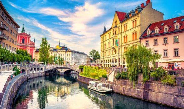 Cityscape view on Ljubljanica river canal in Ljubljana old town