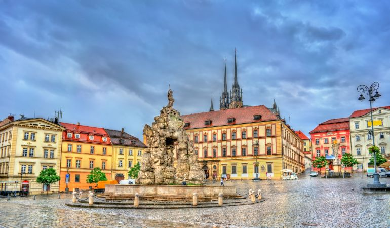 Parnas Fountain on Zerny trh square in the old town of Brno