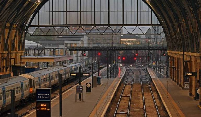 View of a railway station of a commuter town, London