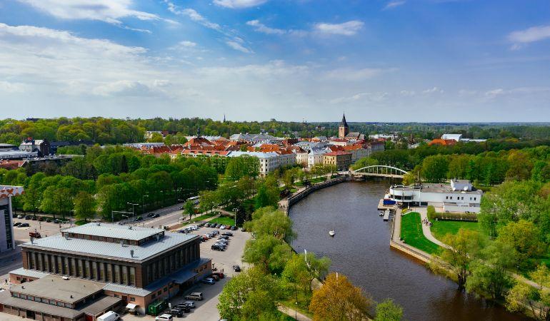 Springtime cityscape of Tartu town