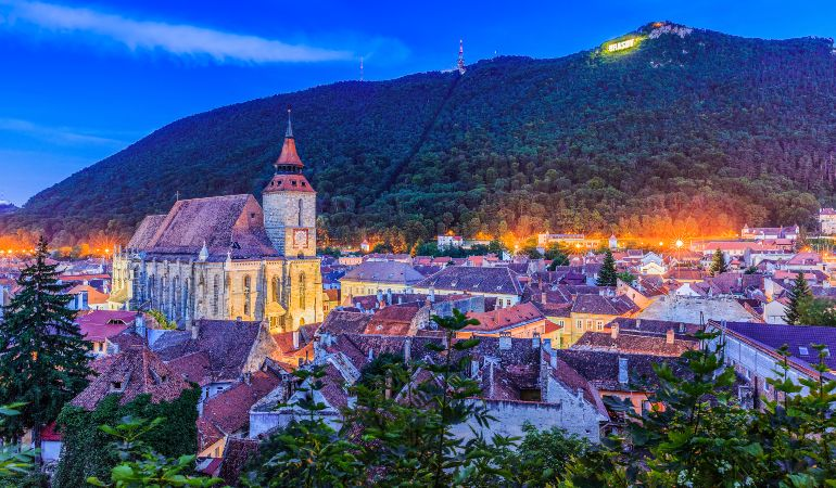 Panoramic view of the old town and Tampa mountain in Brasov