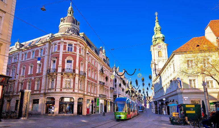 City of Graz Hauptplatz main square advent view, Steiermark region of Austria