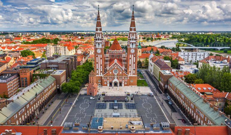 Aerial drone view of the Votive Church and Cathedral of Our Lady of Hungary