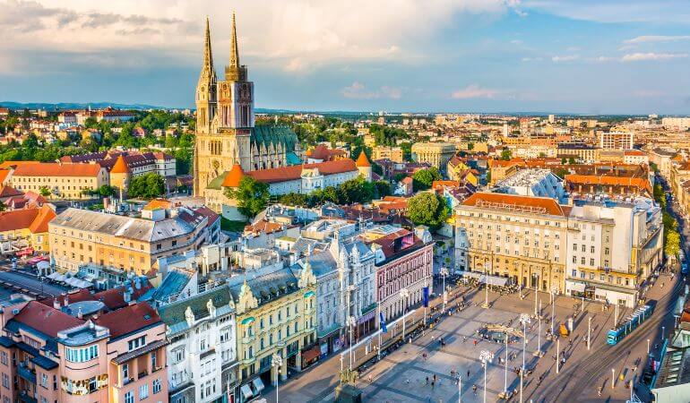 Aerial view at capital town of Croatia, Zagreb city main square