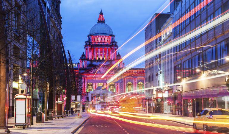 Illuminated Belfast City Hall. Belfast, Northern Ireland