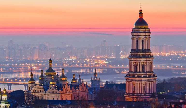 Aerial view at sunrise of the Kiev-Pechersk Lavra, Ukraine
