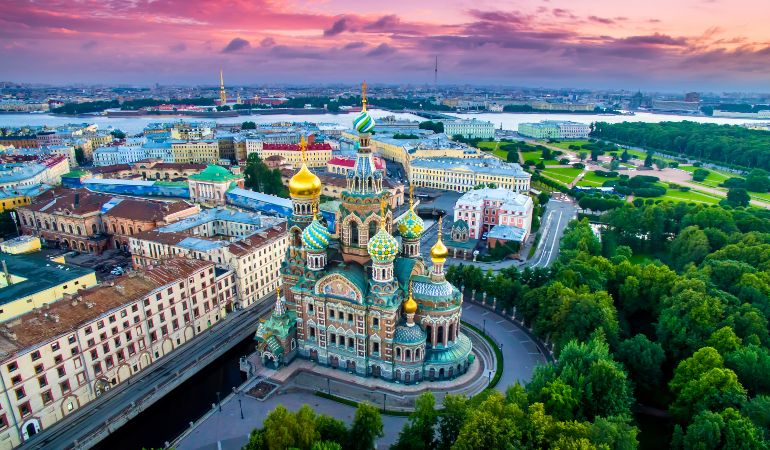 Panorama of St. Petersburg at the summer sunset