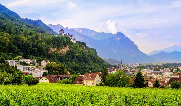 Vaduz town, panoramic view of the capital of Liechtenstein with the Castle Vaduz
