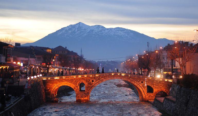 The center of Prizren, Kosovo at dusk